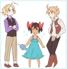 Young Matthew, Alfred, and Cecily (head-canon name for Seychelles) - Art by patynotchan.tumblr.com