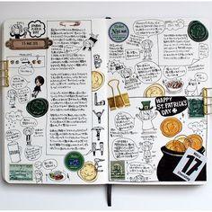 グリーンとゴールドの見開きページ。実は3月17日の日記は更に続きます(。öᴗö。)♡ #moleskinejp #moleskine #絵日記倶楽部…