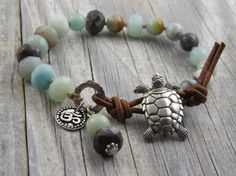 Sea turtle bracelet amazonite bracelet leather by WynnesWhimsies