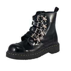 Anarchic Boots | ... Ladies New Anarchic 7 Eye Boot Buckle Black Leather Goth Womens Boots