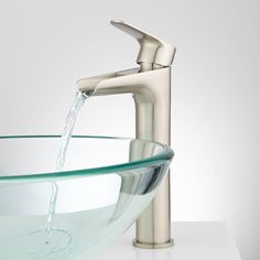 Waterfall Bathroom Sink Faucet With Glass Spout