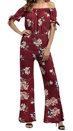 88bdb01a52a Winwinus Women Flare Wide Leg Chiffon Off Shoulder Stylish Pants Playsuit  Romper