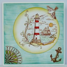 Fliss's lighthouse card using Kanban stamps Kanban Cards, Happy Easter Sunday, Boy Cards, Men's Cards, Popsicle Stick Crafts, Popsicle Sticks, Seaside Theme, Nautical Cards, Beach Gifts
