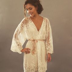 HELENA Kimono - Made to Order Ivory Guipiere lace lingerie Getting Ready Kimono - Trousseau, gift for her, lingerie dressing gown, honeymoon by ThisModernLoveBridal on Etsy https://www.etsy.com/listing/232855598/helena-kimono-made-to-order-ivory