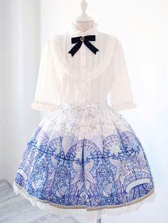 Sweet Lolita Skirt Dress Lace Trim Bows Royal Purple Horse Angel Print Lolita SK - Milanoo.com