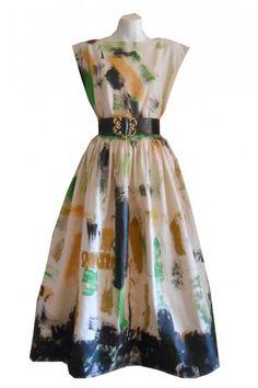 HARAH DESIGNS  HAND PAINTED  LINEN TEA TIME DRESS Hand Painted Dress, Tea Time, Designer Dresses, Hands, Summer Dresses, Fashion, Moda, Designer Gowns, Summer Sundresses