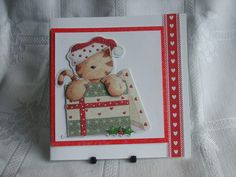 Handmade Christmas Card, Cat in A Box £2.00