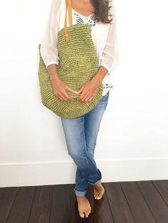 Monedero de la cesta de la paja bolso tejido grande por MOOSSHOP