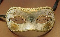 White Masquerade Eye Mask PartyOasis.com