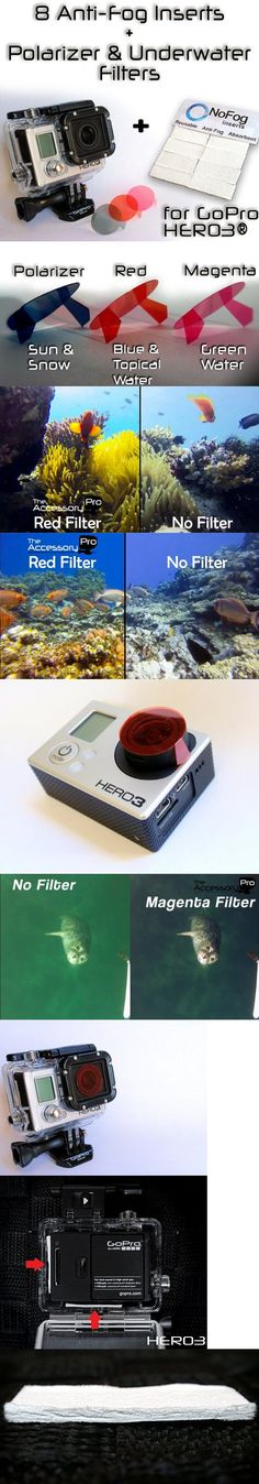 GoPro Hero3 Bundle - 8 Anti-Fog Inserts, Polarizer, Red, Magenta Filters - These Filters and Anti-Fog Inserts only work with HERO3® cameras (view our other items for HERO2® & HERO®. Camera pictured is not included.Filter TypesThe filters 3 Pack contains: - Polarizer (Sun ... - Camcorders - Photo & Camera - $16.99