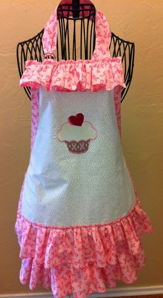 Breast Cancer Awareness Apron with Ruffles