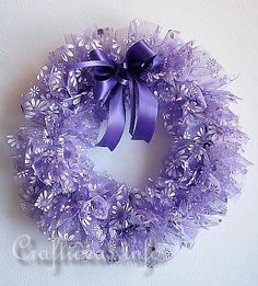 Love organza as a fabric for a wreath. Maybe not this bright purple, but something else.