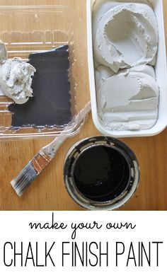 Make your own chalk finish paint recipe with only two ingredients - just mix them together. Super easy DIY idea for furniture painting.