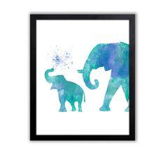 Elefante acuarela pintura arte del elefante por TheWildlands