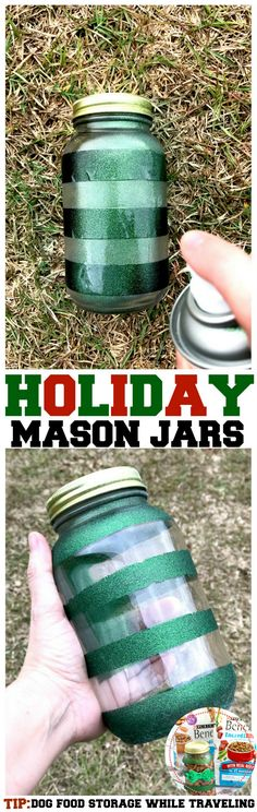 Glitter Mason Jar Tutorial perfect for Dog Food Travel and Storage this holiday season, get festive with your pets and keep food from going stale Glitter Mason Jars, Painted Mason Jars, Mason Jar Crafts, Mason Jar Diy, Food Dog, Best Dog Food, Dog Food Recipes, Pet Food Storage, Smart Storage