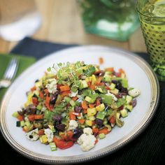 Get your daily dose of veggies and probiotics with a raw chopped salad.