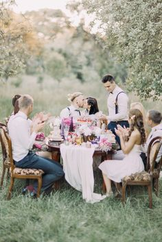 vertical photo of the wedding dinner in the sunny wood. The newlywed couple Stock Photos , Wedding Dinner, Girl Blog, Newlyweds, More Photos, Design Trends, Sunnies, Stock Photos, Table Decorations, Couples