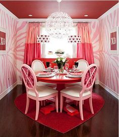 pink dining room. Lovethe wallpaper.