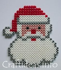 Hama/Perler bead or cross stitch Santa to make, Hama Christmas ;) idea for a Christmas card design