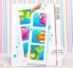 """Stamps by Avery Elle """"That Bites"""". Die """"Film Strip"""" & Sequins by Pretty Pink Posh. Colored with Copic Markers. Orange Fish: YR09,YR07,YR16,Y17,Y15. Green Fish: G07,YG17,YG03,YG01,Y15+Y00. Pink Fish: RV09,R85,RV34,RV93,R83. Eyes: BG72,BG000. Water: B05,B02,FBG2, Colorless Blender."""