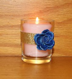 Navy and Gold Glitter Wedding Decor / Wedding Votive Candle Holder / Navy Wedding Decoration / Navy Bling Wedding / English Garden / 6