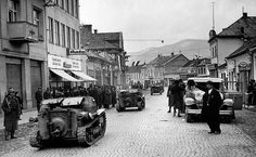 1938 Partition of Czechoslovakia - Hungarian armored vehicles rolling through the streets of Hust in Hungarian-occupied Czechoslovakia. Phoney War, Ukraine, Yamato Battleship, Ww2 Photos, Ww2 Tanks, Going Home, North Africa, Armed Forces, World War Two