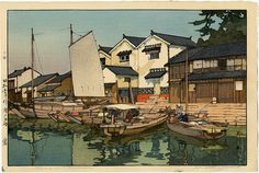 Hiroshi Yoshida Kura in Tomonoura Original Japanese Woodblock Print The Inland Sea - Second Series 1930  The artist notes that 12 blocks and 53 impressions were used.
