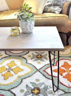 How to make a DIY hairpin table with a rustic wood gray top. DIY directions and where to find supplies. Hairpin Table, Hairpin Legs, Family Rooms, Living Rooms, Diy Table, Rustic Wood, Hair Pins, Lounge, Rugs