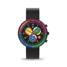A modern British-designed men's chronograph watch inspired by the frenetic energy and vibrancy of Shanghai. A brushed black case holds contemporary clashing colour subdials, Latest Watches, Watches For Men, Black Watches, Leather Watches, Men's Watches, Thing 1, Black Italians, British Style, Stainless Steel Case