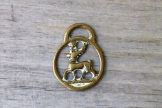 Stag horse brass vintage buckle / rustic woodland deer decor / outlander inspired style / bohemian style home / upcycled brass ornament
