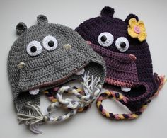 Crochet Hippo Hat -for Boy or Girl - size Newborn -  Adult   - Made to Order. $30.00, via Etsy.