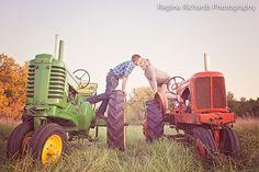 Engagement, via Flickr. #vintage #tractor