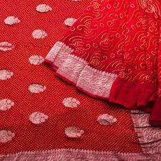 The real beauty of a Bandhani saree reflects best in red Bandhej Handwoven Banarasi Silk Sari 1012470 - Brands / Bandhej - Parisera