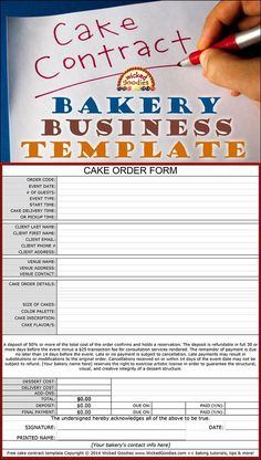 How to Write a Cake Contract or Order Invoice for Your Bakery Business by Wicked Goodies business ideas small business ideas wahm ideas Home Bakery Business, Baking Business, Cake Business, Business Ideas, Business Planning, Cupcake Shops, Cupcake Cakes, Baking Cupcakes, Baby Cakes