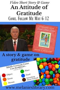VIDEO CLIP A story on gratitude by Elder Uchtdorf. Includes a fun game. Perfect for Family Home Evening (FHE), Primary, Sunday School, Young Womens, Relief Society or talks. Mutual Activities, Young Women Activities, Activities For Girls, Fhe Lessons, Primary Lessons, Lessons For Kids, Family Home Evening Lessons, Sunday School Lessons, Activity Day Girls