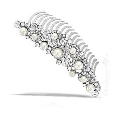 Bling Jewelry Pearl Rhinestone Silver Bridal Tiara Comb Gatsby... ($17) ❤ liked on Polyvore featuring accessories, hair accessories, white, bridal tiara, rhinestone hair accessories, hair combs, bride hair accessories and tiaras