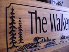 Lake House Wooden Carved Rustic Wood Sign for your Ranch Cabin Lake house Cabin carved sign with Loon ducks pine trees Unique Gifts on Etsy, $39.99