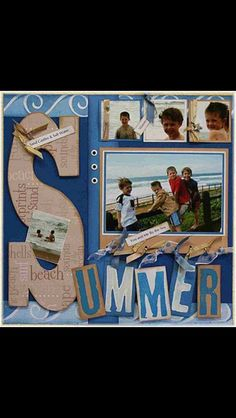 Summer scrapbook spread 1 Picture layout to 4 Picture layout Beach Scrapbook Layouts, Album Scrapbook, Vacation Scrapbook, Scrapbook Designs, Scrapbook Sketches, Baby Scrapbook, Scrapbook Paper Crafts, Scrapbook Supplies, Scrapbooking Ideas