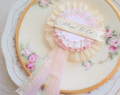 Lovely Mommy.  Charming Mom To Be Rosette Pin for a Baby Shower