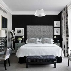 vintage glam bedroom. I might have to have a black wall :)