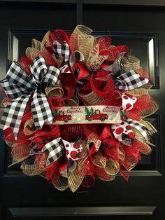 Ribbon may vary by season – Bettyandroid Christmas wreath buffalo check, red truck wreath. Ribbon may vary by season Old red truck deco mesh Christmas wreath. Silver Christmas Decorations, Christmas Mesh Wreaths, Noel Christmas, Christmas Crafts, Christmas Red Truck, Ribbon Wreaths, Deco Mesh Wreaths, Christmas Nails, Deco Mesh Crafts
