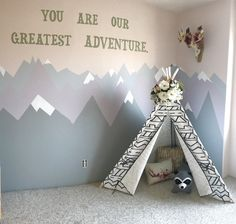 Tribal woodland playroom for our little one. #playroom #tribal #teepee #woodland #room #kids #mountain #scenic #paint #walls #nursery #bedroom
