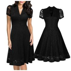 2016 Absolutely Gorgeous Black Lace Vintage Style 50's Elegant V-Neck Sexy Party Dress S-2XL