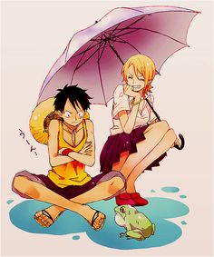 I don't like Luffy and Nami as a pairing, but this picture is so cute. Luffy's face is adorable.