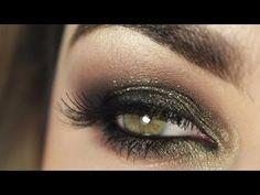 ▶ Passo a Passo - Olho preto esfumado com brilho dourado e verde - YouTube