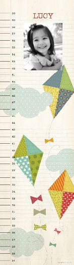 Re-positionable fabric growth chart you can take with you and have a custom picture and name! I love it! How fun for them to have when they have children too! $29.99 from papercoterie.com. I am LOVING this site. check it out.