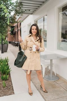 Classic belted trench coat styling