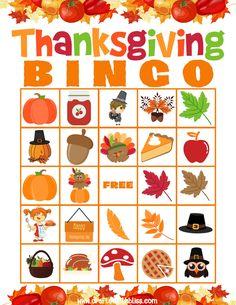 Thanksgiving BINGO For Kids, Thanksgiving Activities, Thanksgiving Printable, Thanksgiving Classroom Activities, Thanksgiving Games For Kids