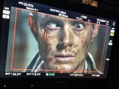 From Guy Bee's Twitter: The effects of too much Wiener Hut! @JensenAckles #Supernatural #1009 #thethingsweleftbehind