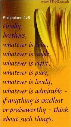 Philippians 4:8 Finally, brothers, whatever is true, whatever is noble, whatever is right, whatever is pure, whatever is lovely, whatever is admirable - if anything is excellent or praiseworthy - think about such things.